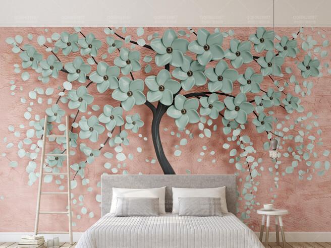 Фотообои Бирюзовые цветы на дереве
