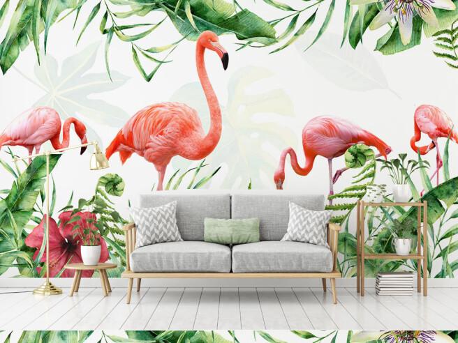 Четыре алых фламинго