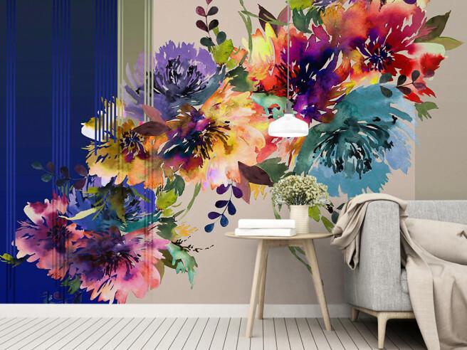 Цветы на полосатом фоне