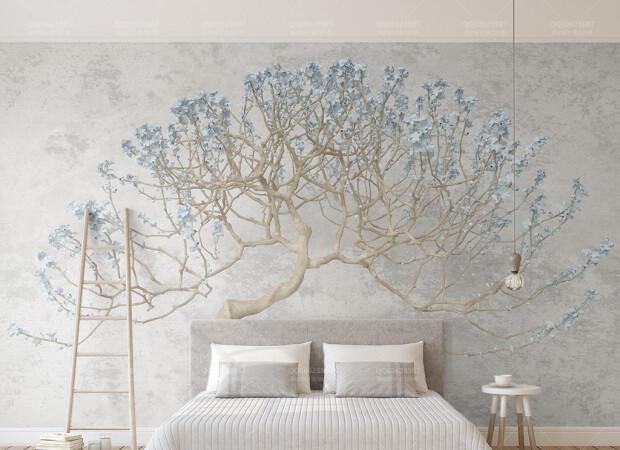 Дерево с голубыми цветами