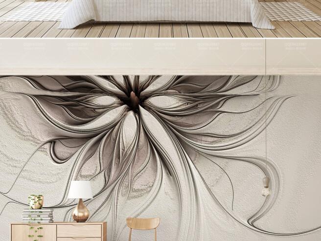 Абстрактные цветы рельефные линии