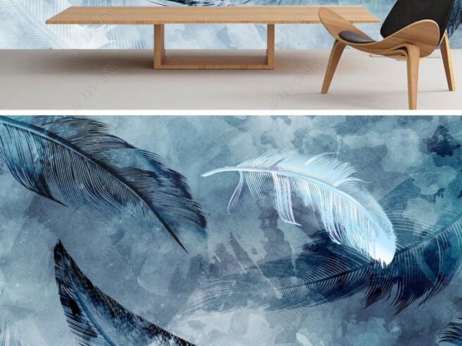 Фотообои Синие перья