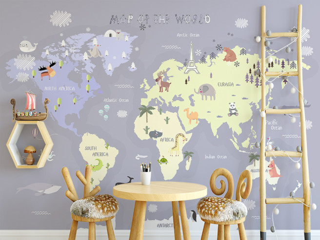 Фотообои Заснеженная карта мира