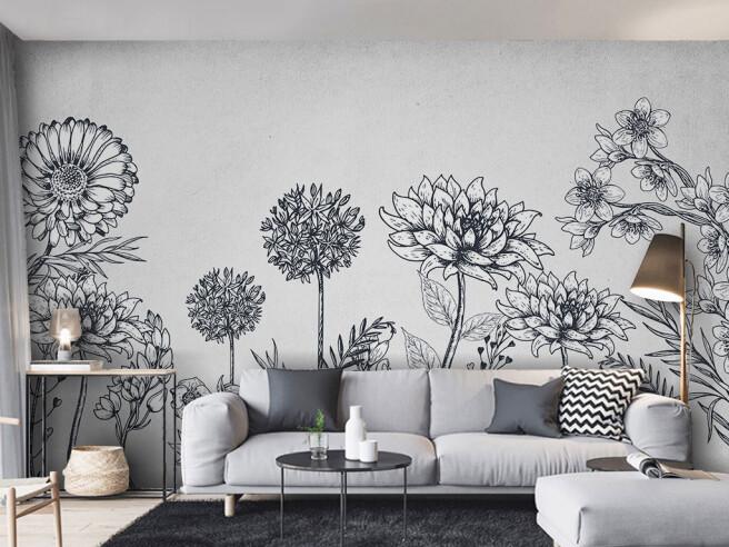 Фотообои Черно-белые цветы