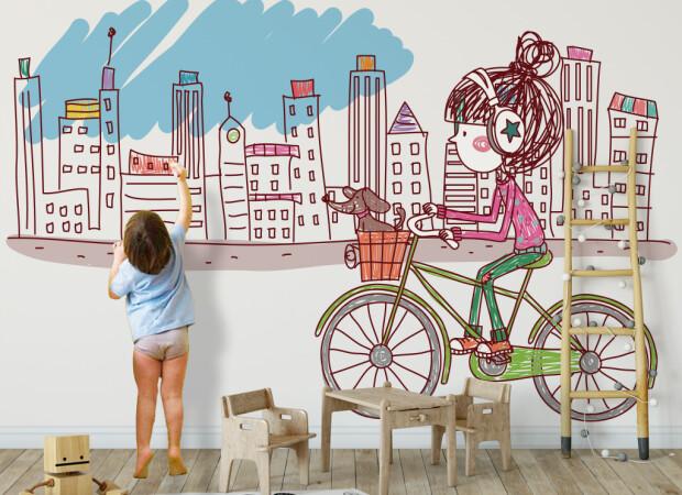 Детский рисунок города