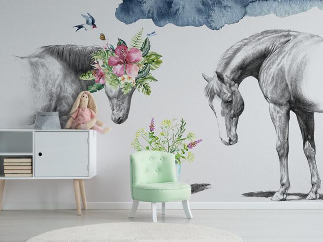 Фотообои Пара серых лошадей