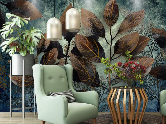 Осенние листья на стене