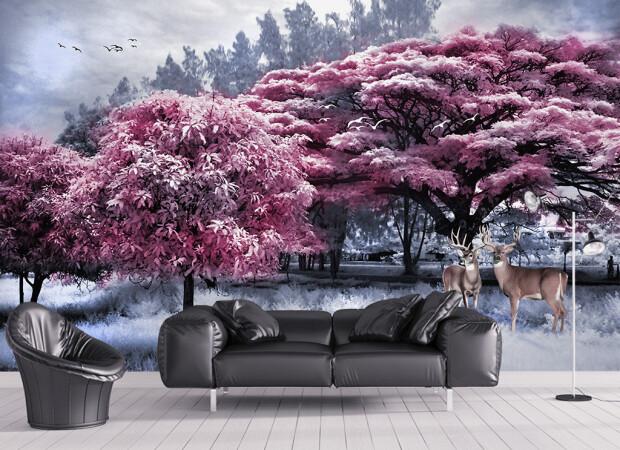 Розовые деревья и олени