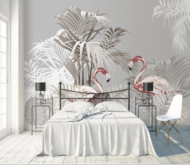тропики и красные фламинго