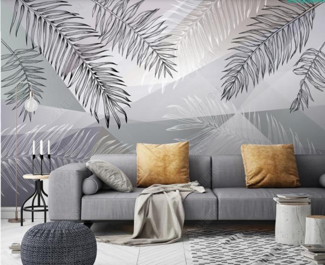 Фотообои листва на фоне геометрии