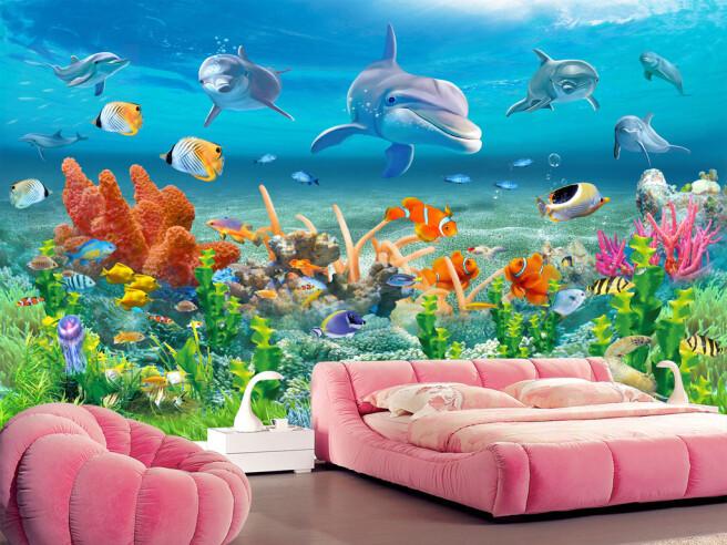 Стая дельфинов возле рифа