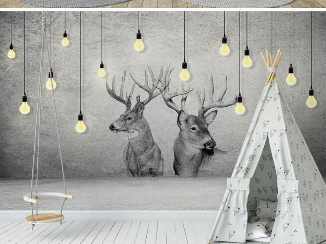 Фотообои Олени среди ламп