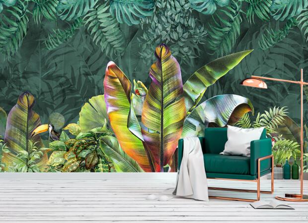разноцветные тропические листья