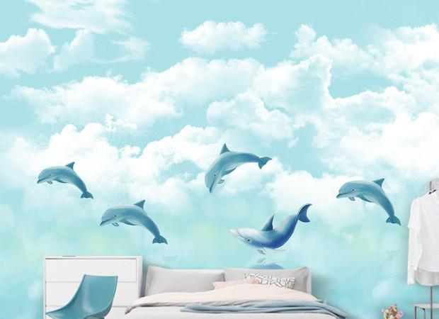 Дельфины в облаках