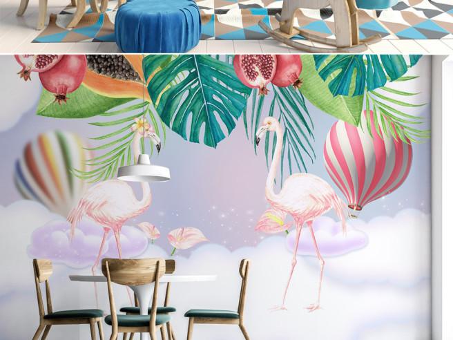 Фламинго в цветах