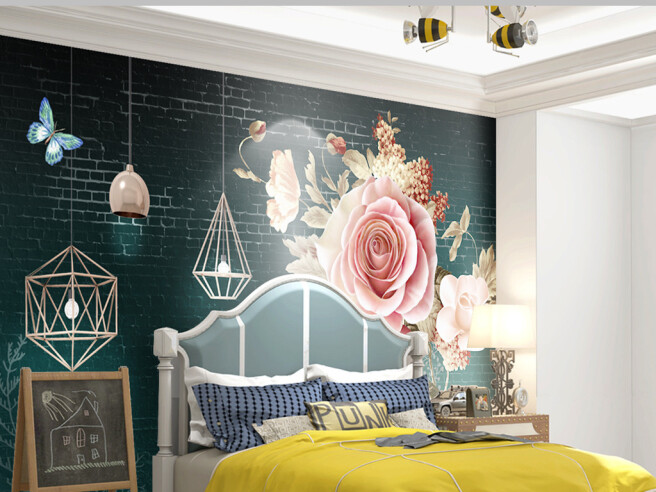 Фотообои Розы на кирпичной стене