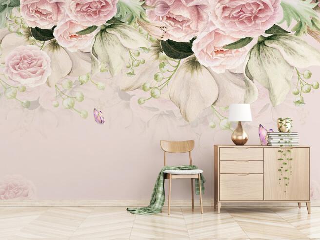 Фотообои Цветы над бабочками