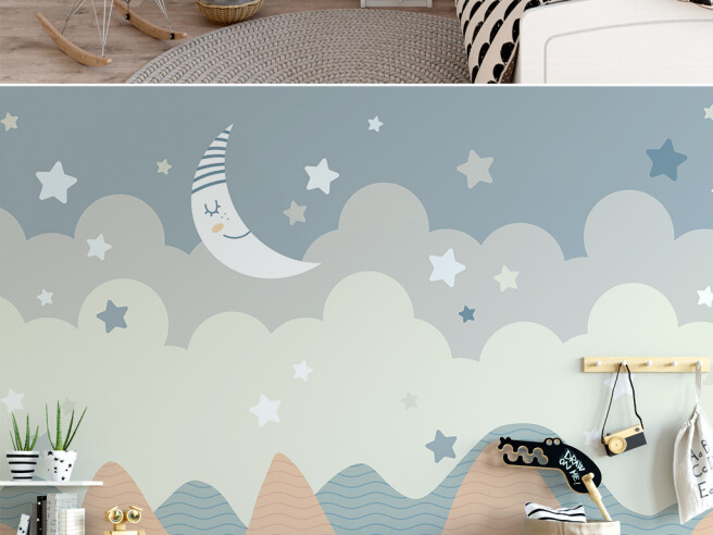 Фотообои Спящий месяц и звезды