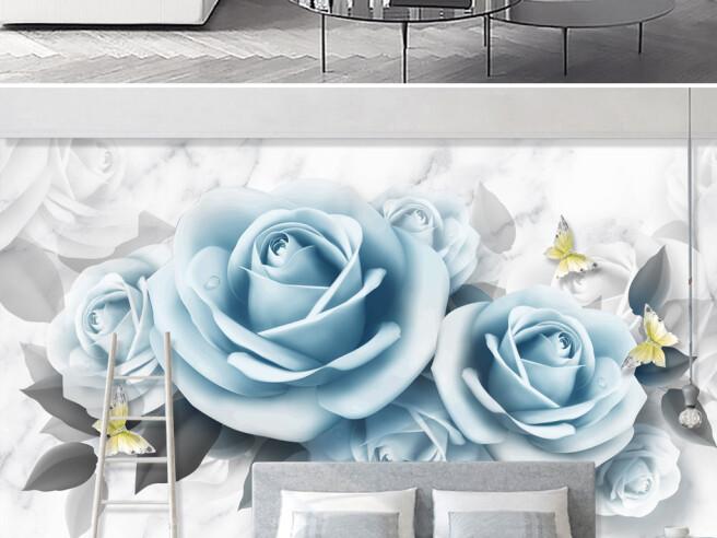 Фотообои Гоубые розы и бабочки
