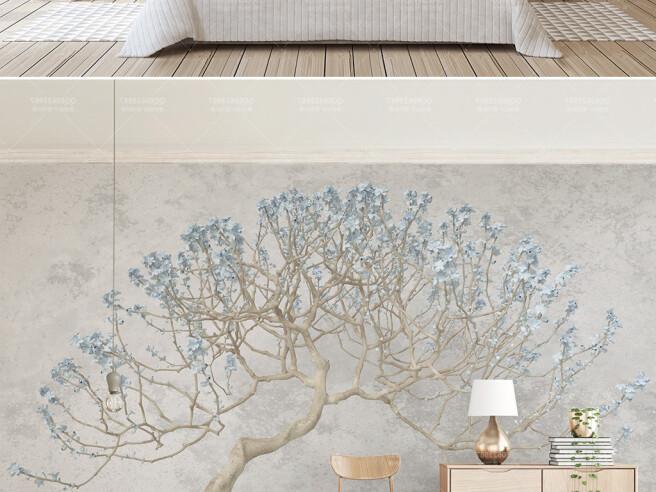 Фотообои Дерево с голубыми цветами