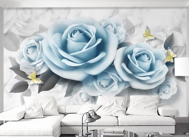 Гоубые розы и бабочки