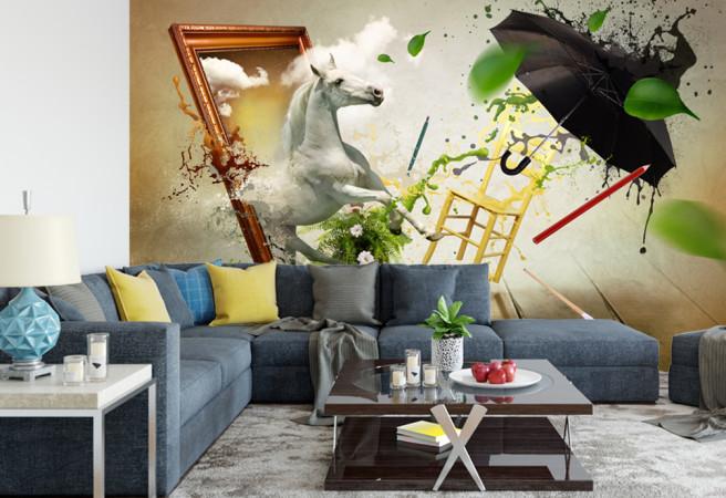 Фотообои лошадь на картине