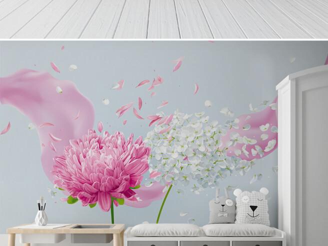 Летящие лепестки цветов