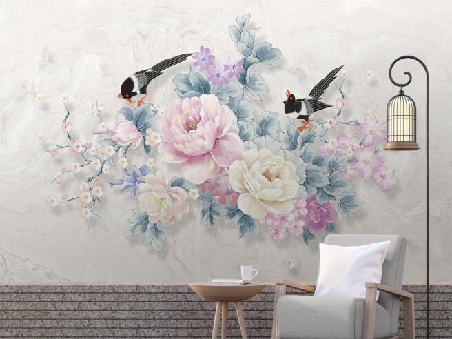 Фотообои Две птицы на ярких цветах