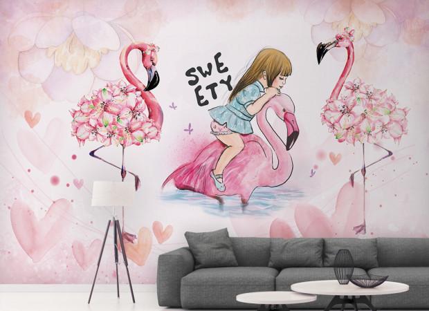 Девочка на фламинго