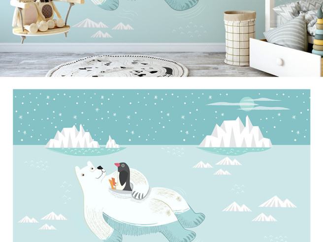 Белый медведь с пингвином