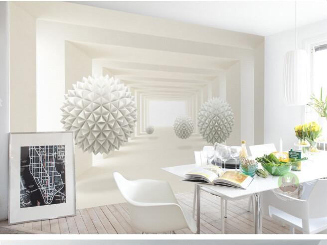 Фотообои Белые шары в объемном пространстве
