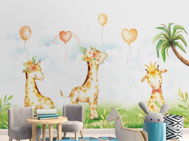 Три жирафа и сердца