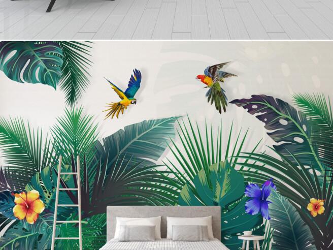 Фотообои Попугай над райским садом