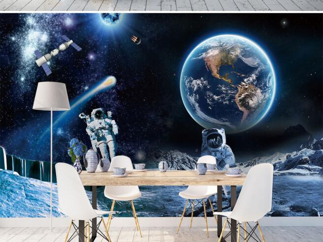 Фотообои Космонавты на фоне Земли
