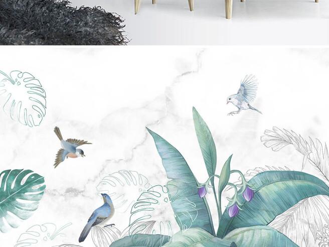 Фотообои Птицы на тропическом кусте