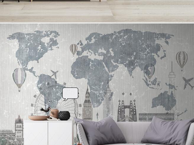 Фотообои Лондон на фоне карты мира