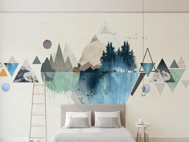 Фотообои Треугольники красками