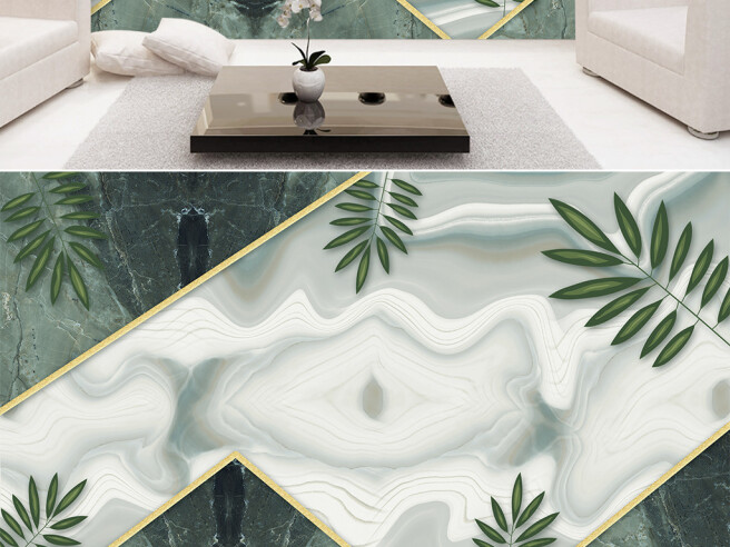 Фотообои Листья пальм на мраморе