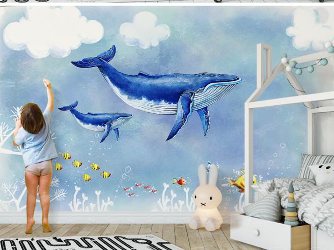 Фотообои Два кита и желтые рыбки