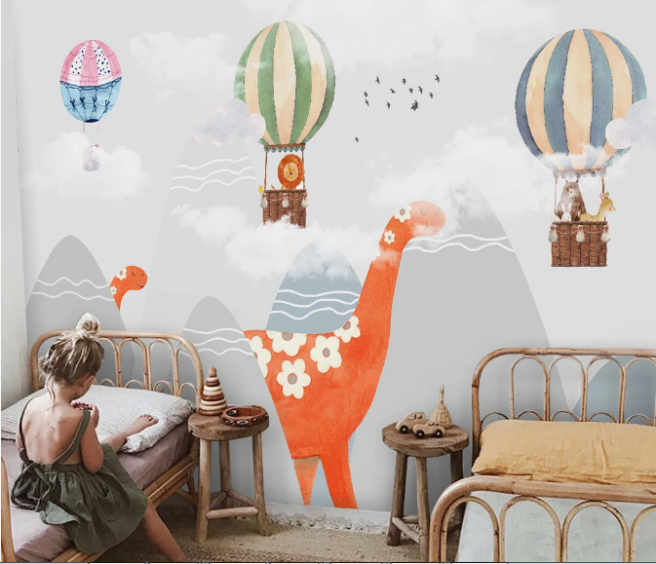 Фотообои динозавр и воздушные шары