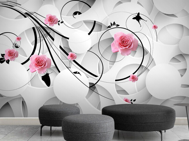 Фотообои Круги с розами