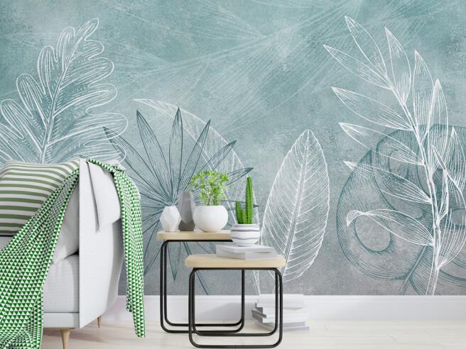 Фотообои Нарисованные листья пальм