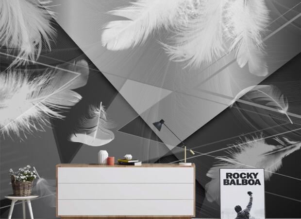 Перья на черно-белом фоне