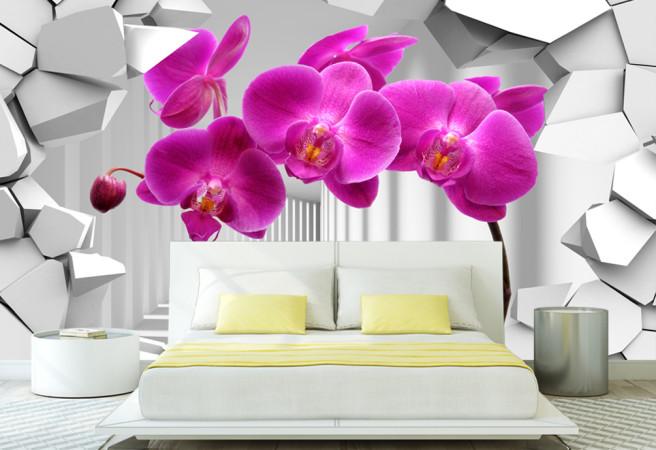 Фотообои фиолетовые орхидеи