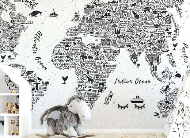 карта в чб с животными