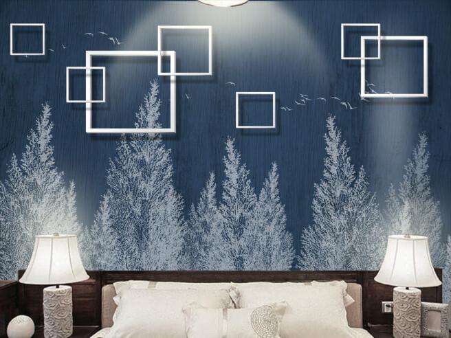 Квадраты на белыми елками