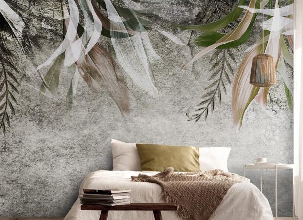 Желтые листья пальм