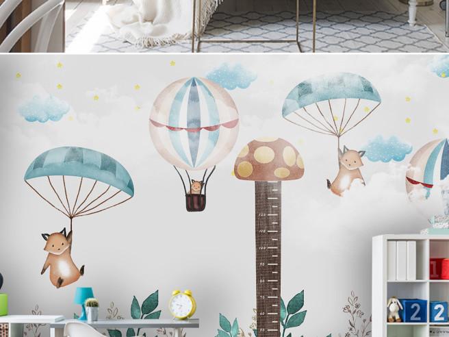Фотообои Лисы на парашютах