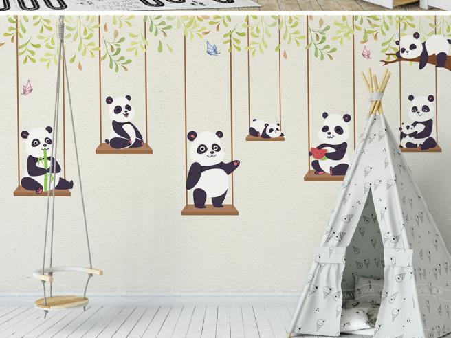 Фотообои Панды на качелях