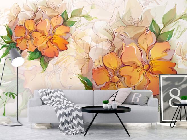 Яркие оранжевые цветы